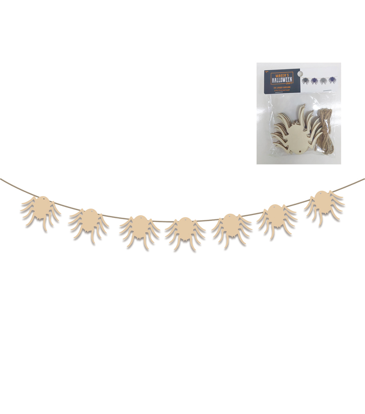 Maker\u0027s Halloween Craft Wooden Spider Garland