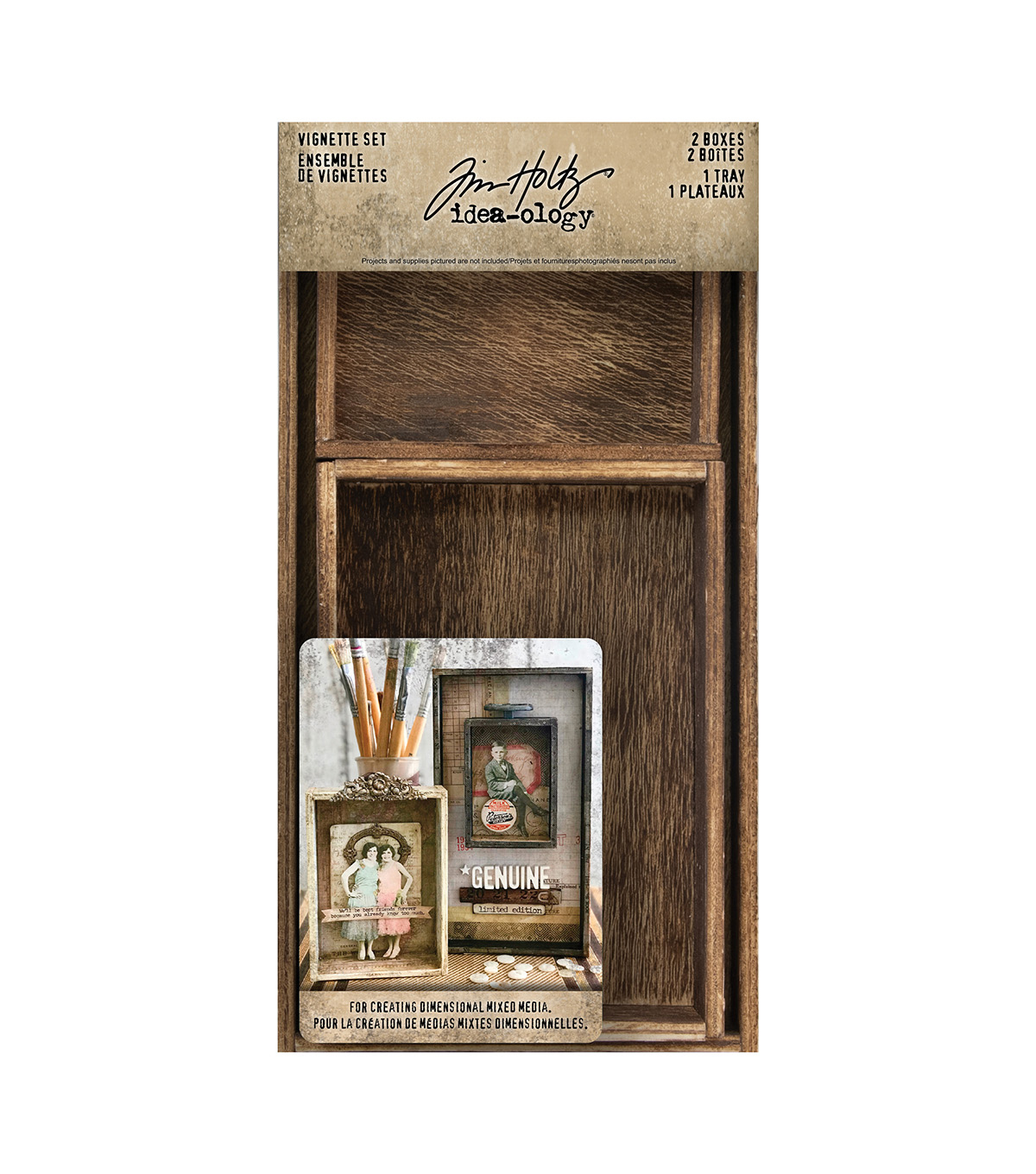 Tim Holtz Idea-Ology Vignette Box Set/3-2 Boxes, 1 Tray