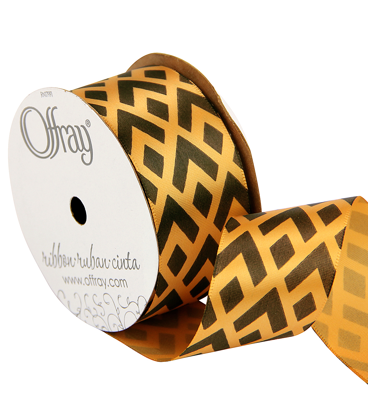 Offray 1.5\u0022 x 9\u0027 Geo Ribbon-Black/Gold