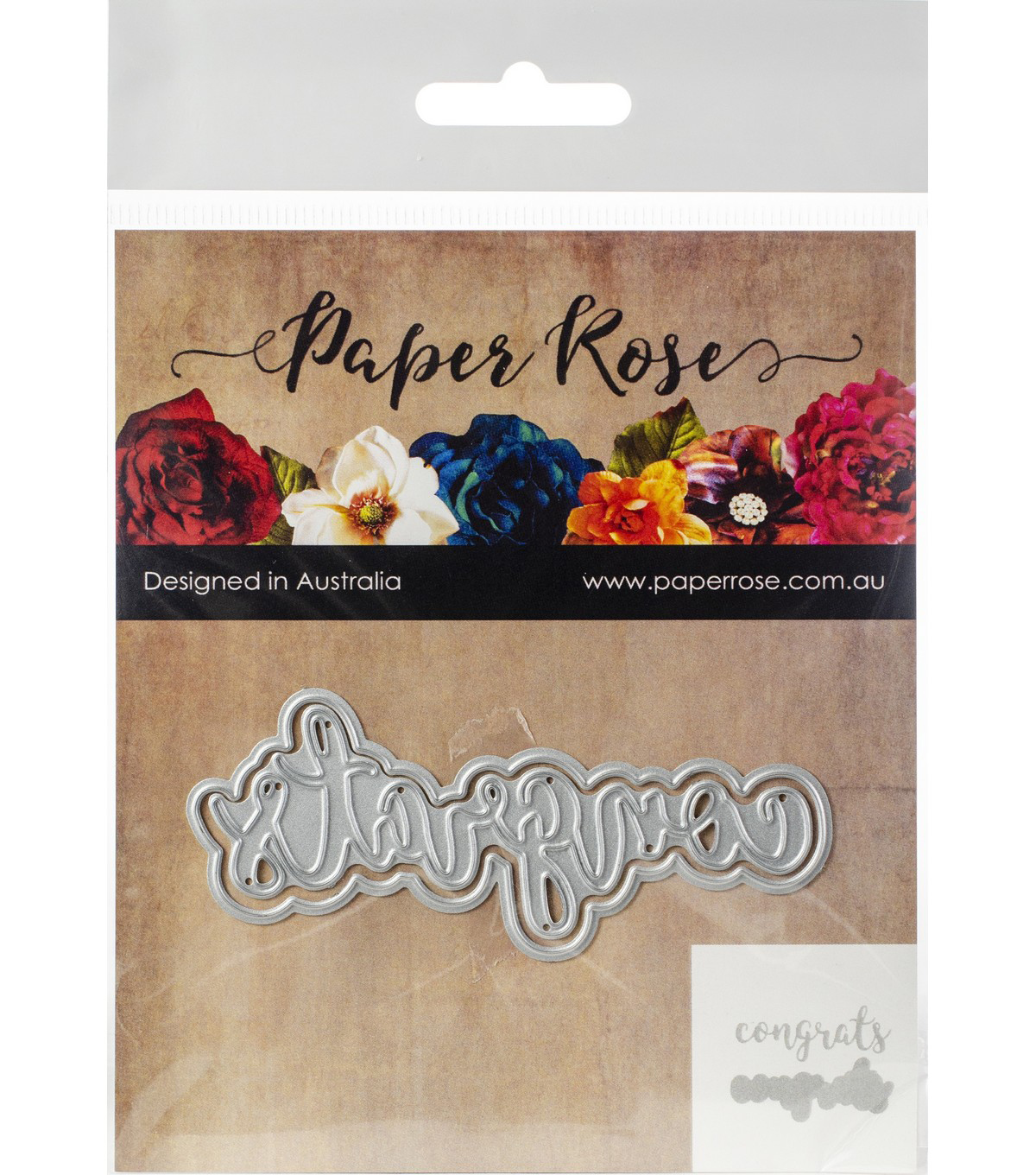 Paper Rose 2 pk Layered Metal Dies-Congrats