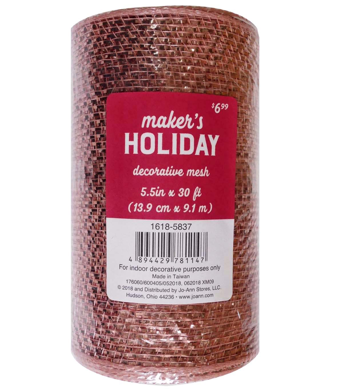 Maker\u0027s Holiday Metallic Decorative Mesh Ribbon 5.5\u0027\u0027x30\u0027-Rose Gold