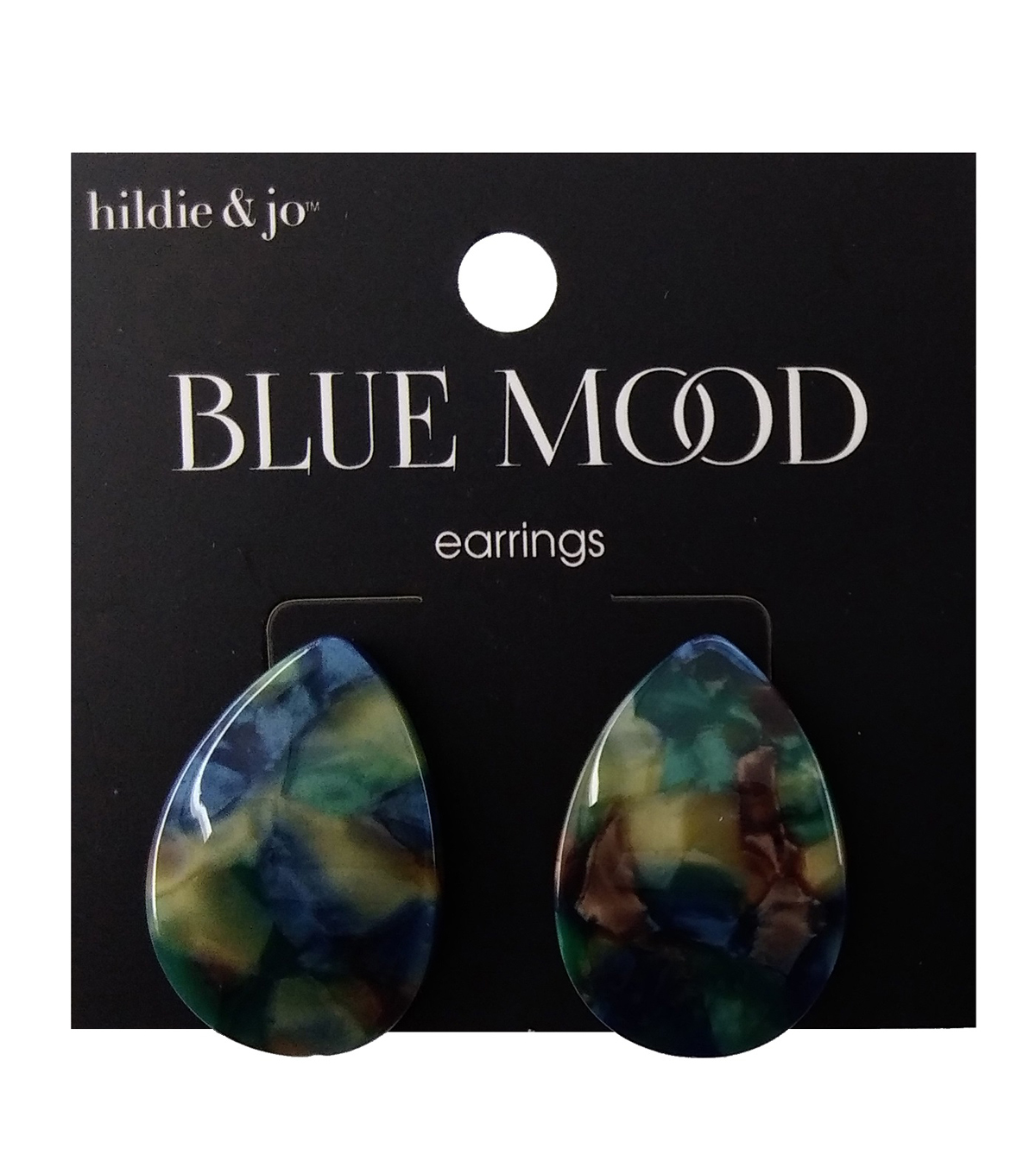 hildie & jo Blue Mood Earrings-Indigo Tortoise Teardrop