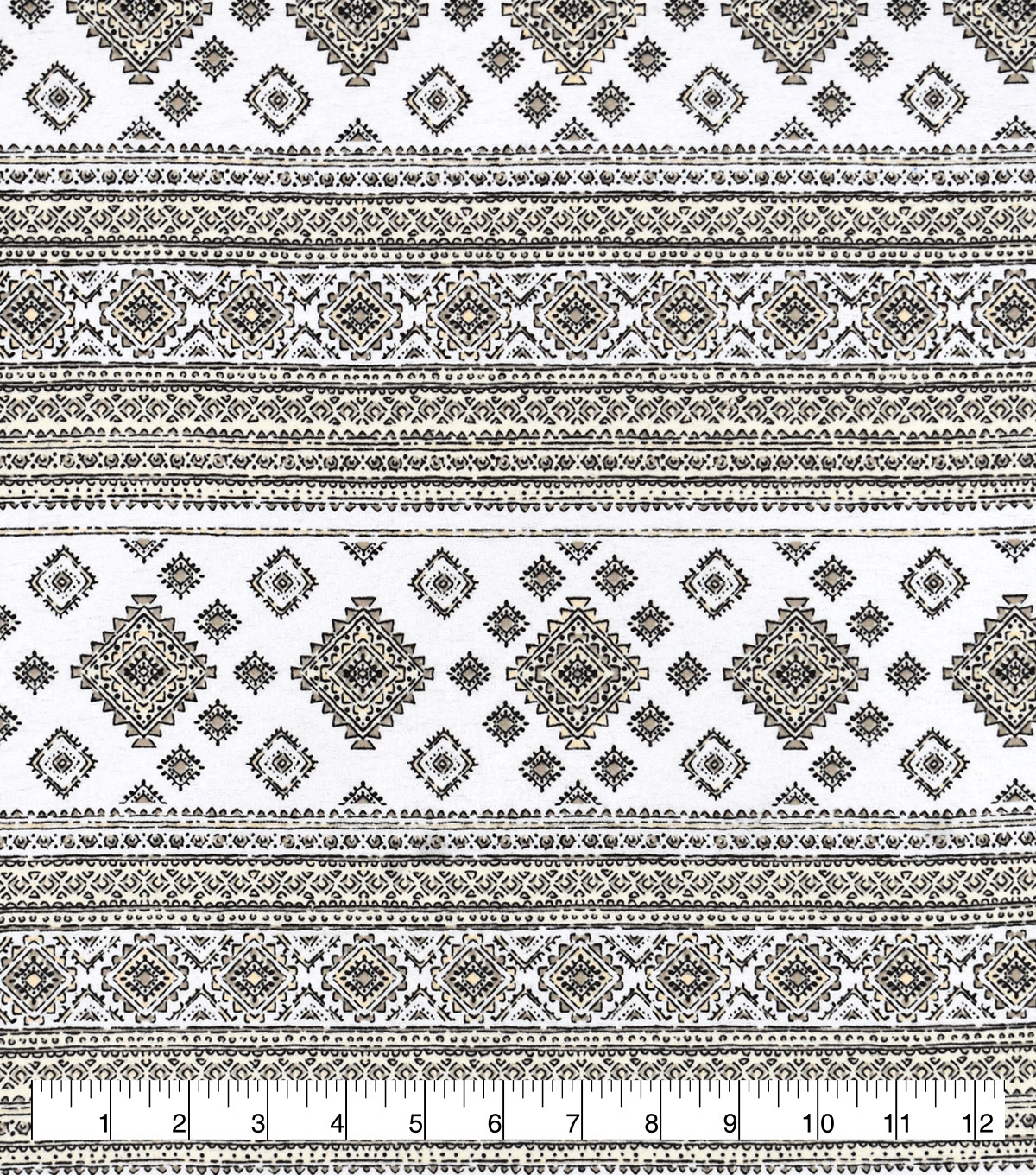 Snuggle Flannel Fabric-Aztec & Stripes On White