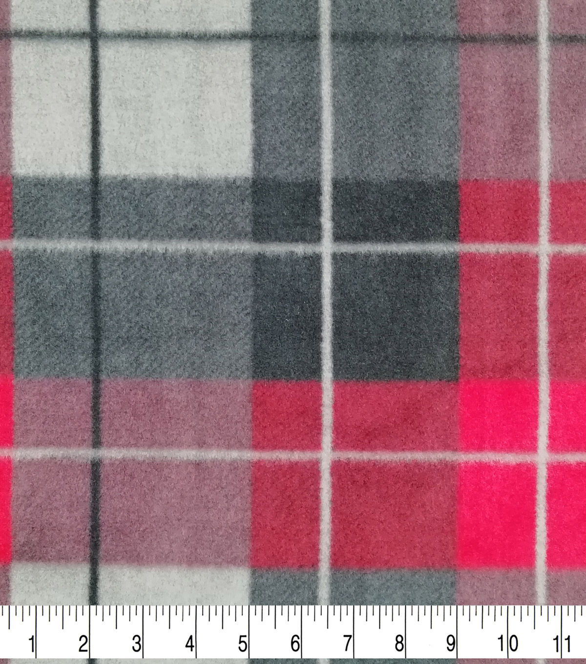 Anti-Pill Plush Fabric-Cole Red & Gray Plaid