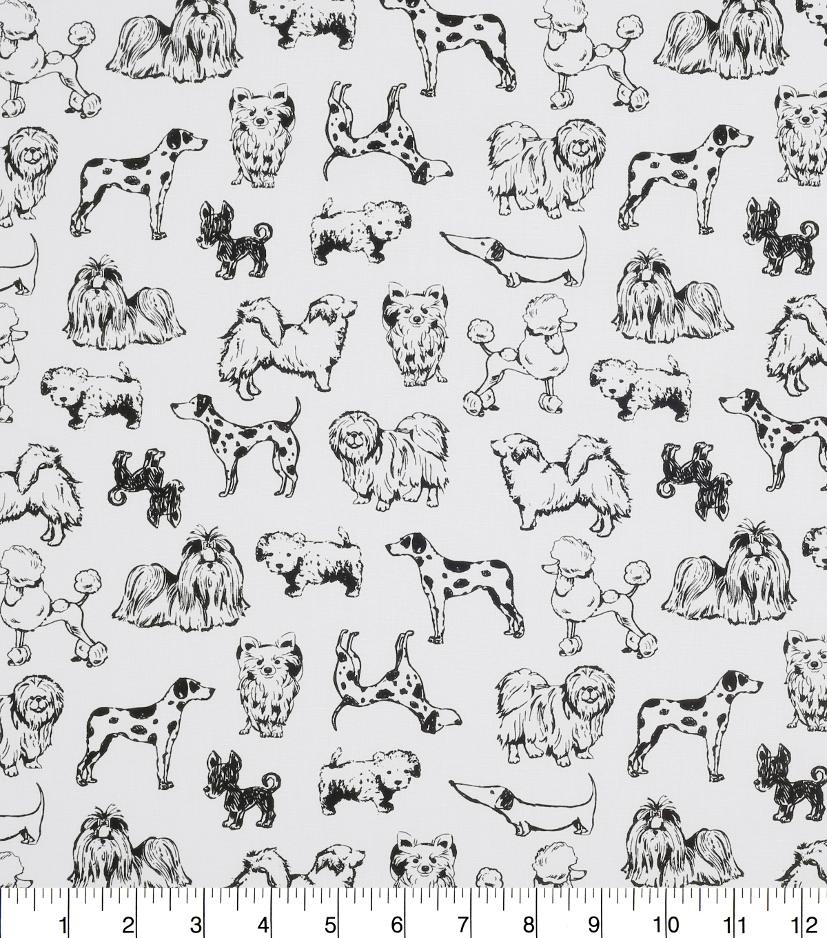 Novelty Cotton Fabric-Dog Sketch