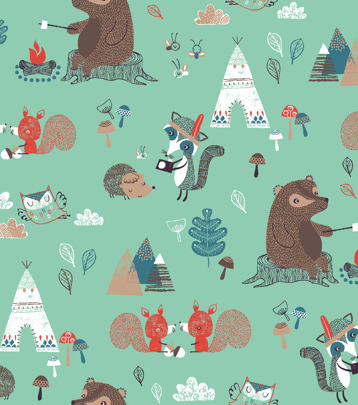 Snuggle Flannel Fabric -Camping Critters