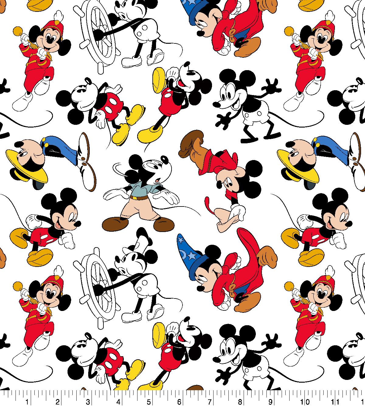 Disney Mickey Mouse Cotton Fabric Mickey Through The Years