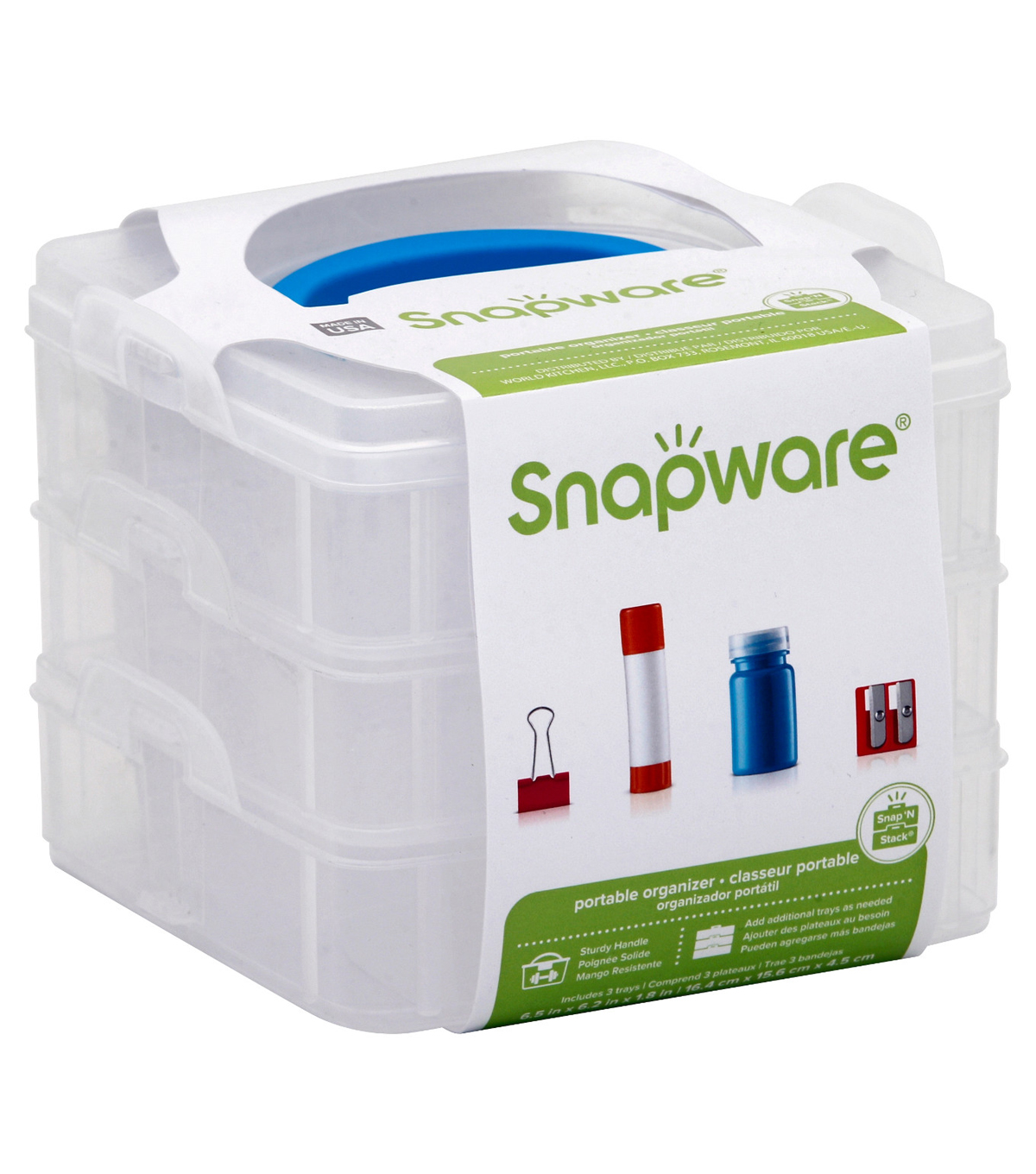 Snapware Snap N Stack 6x6 square 3 layers, 1 layer with divider