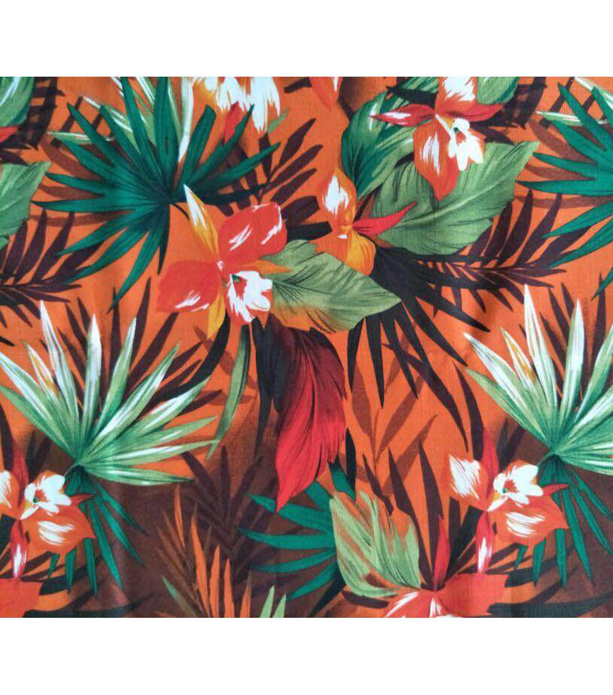 Amaretto Linen Fabric 57\'\'-Tropical Floral on Orange