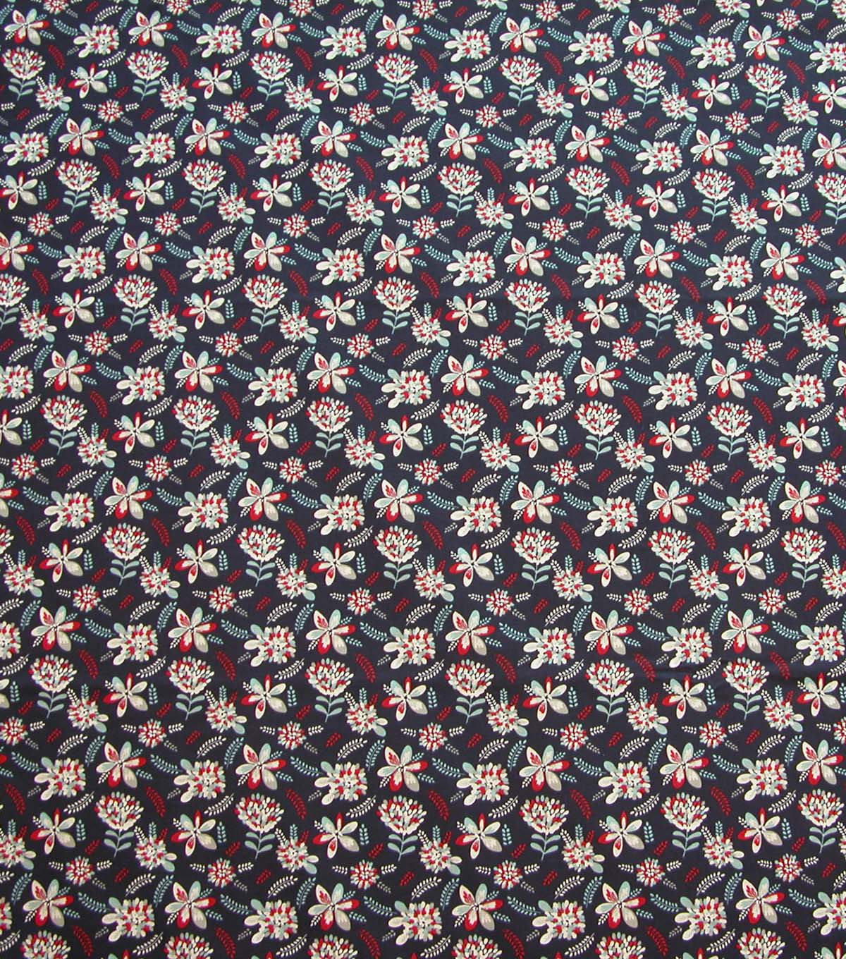 Quilter\u0027s Showcase Cotton Fabric-Red & Blue Flowers on Navy