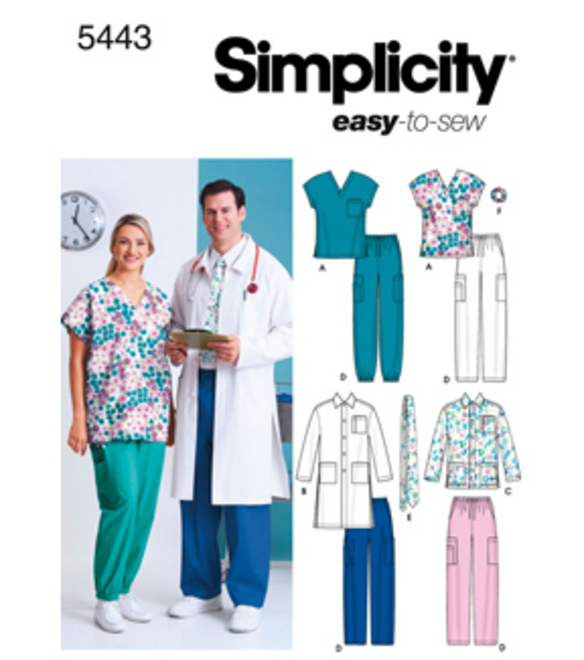 Simplicity Pattern 5443AA Adult Scrub Tops & Bottoms-Size S-M-L