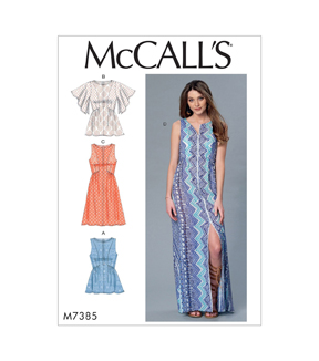 McCall\u0027s Pattern M7385 Misses\u0027 Gathered, Tops & Dresses-Size 14-22
