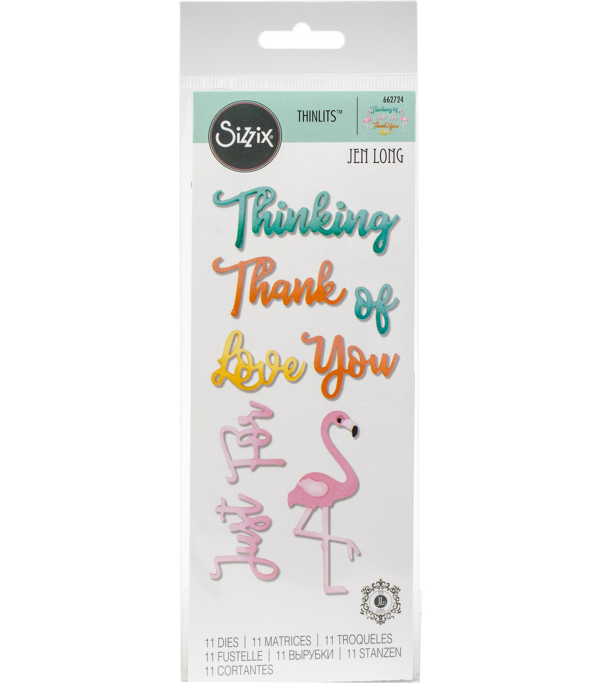 Sizzix Thinlits Dies By Jen Long-Phrases, Thank You & Flamingo