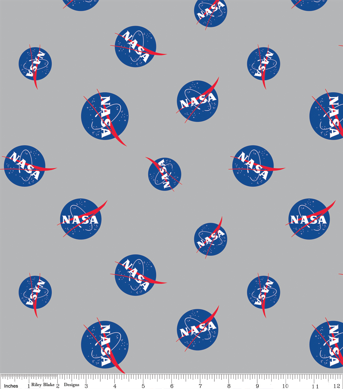 Nasa Cotton Fabric-Logos on Gray