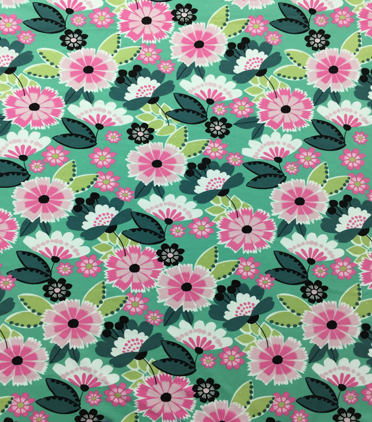 Doodles Cotton Interlock Fabric-Turquoise Mod Floral