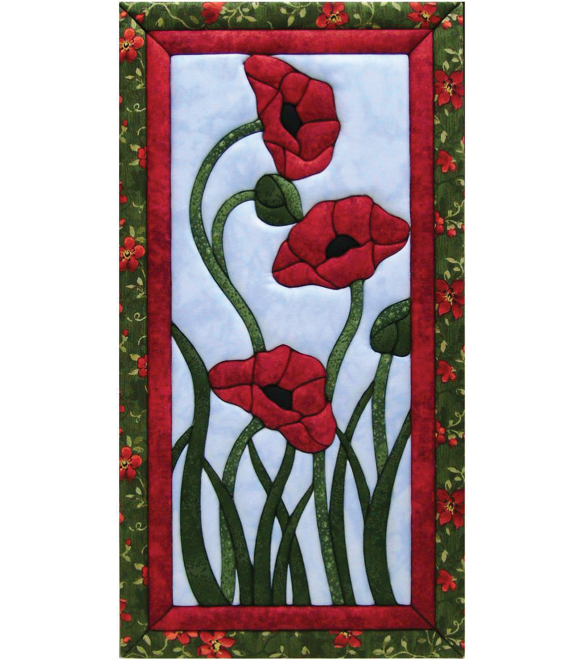 Trio Of Poppies Quilt Magic Kit-10\u0022X19\u0022