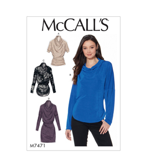McCall\u0027s Pattern M7471 Misses\u0027 Knit Cowl-Neck Tops & Tunic-Size 6-14, 6-8-10-12-14