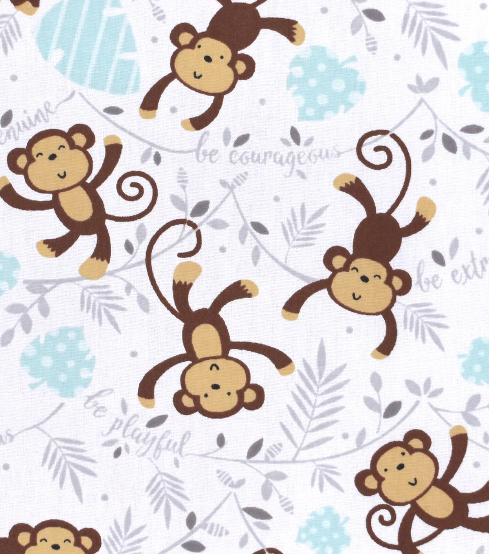 Nursery Flannel Fabric Monkey Words