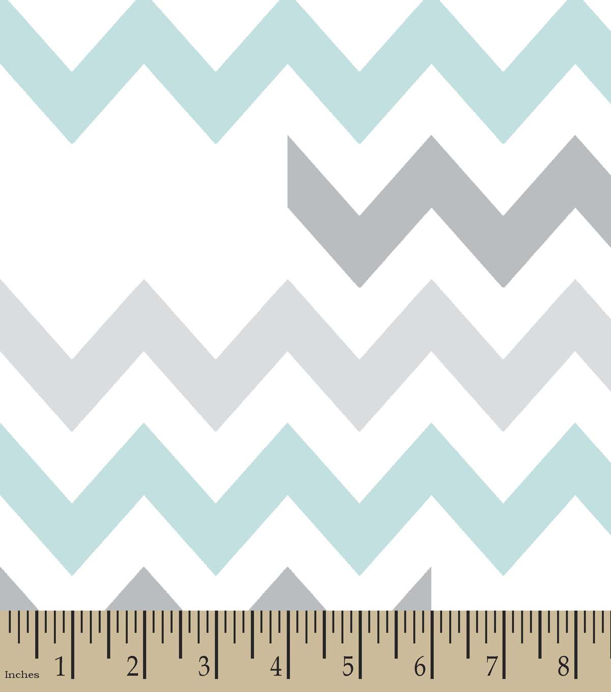 Grey & Teal Chevron Print Fabric