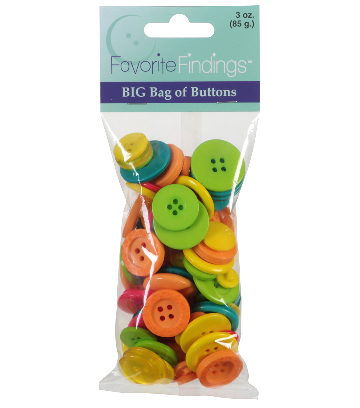 Favorite Findings 3oz Value Pack Tropical Colored Buttons