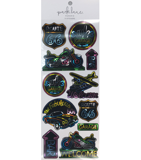 Park Lane Paperie 11 pk Stickers-Neon Garage Sign