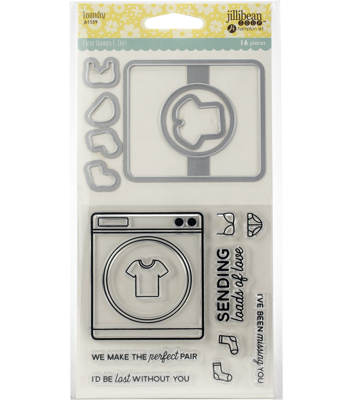 Jillibean Soup Shaker Clear Stamps & Die Set-Laundry