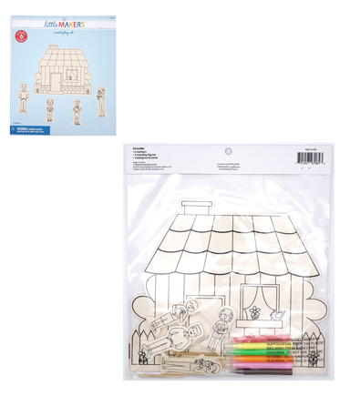 Little Makers Wood Coloring Kit-House