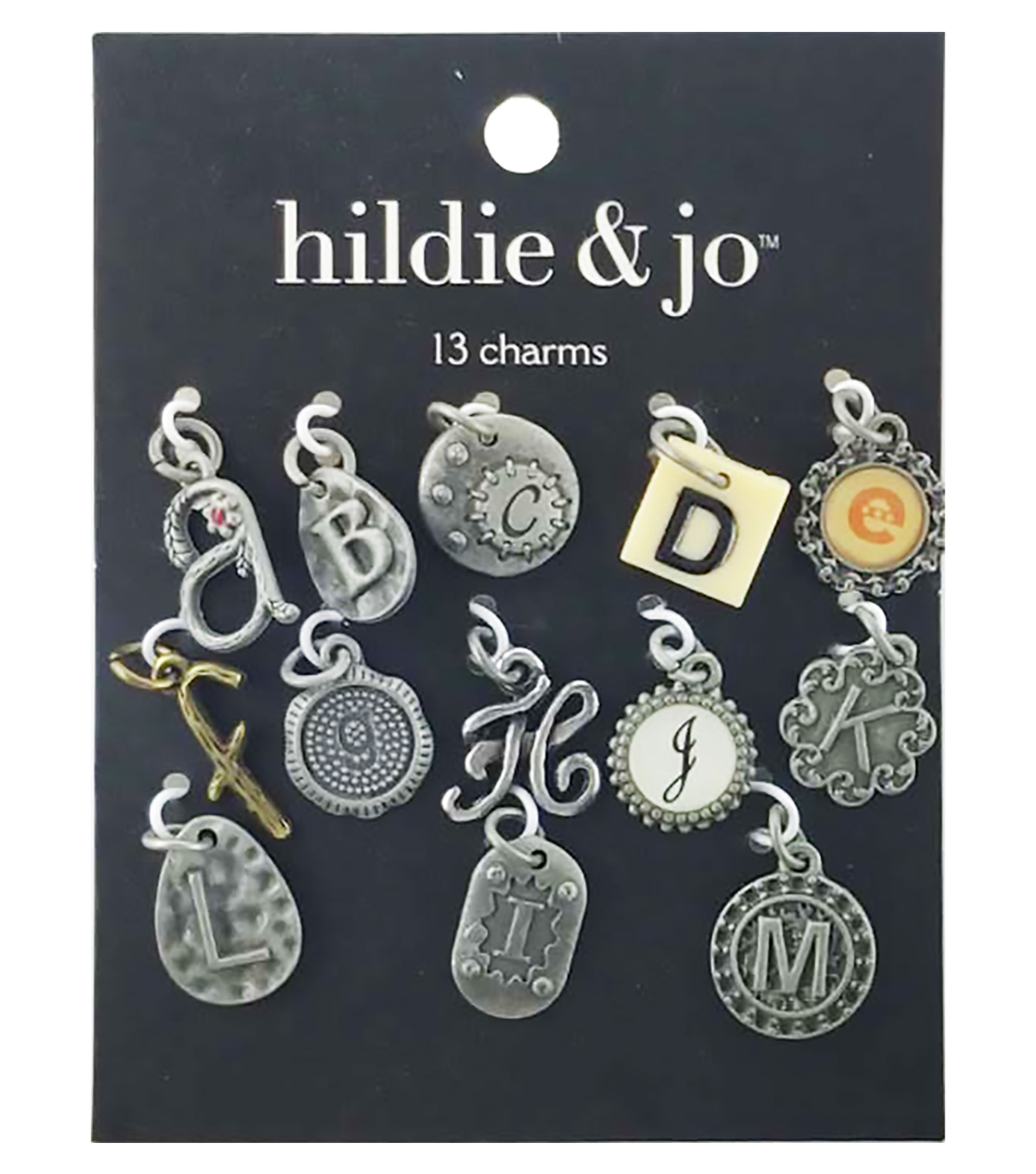 hildie & jo 13 Pack A thru M Letter Charms-Multi
