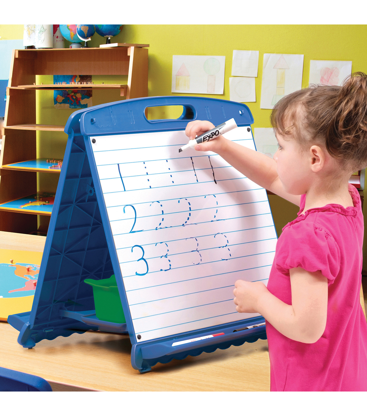 Tabletop Easel with Dry Erase Boards, Pocket Chart, and Storage Tubs