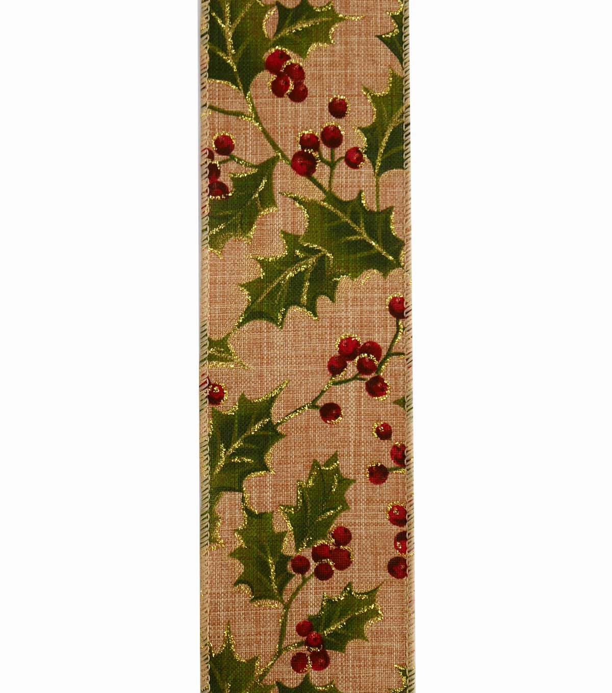 Maker\u0027s Holiday Christmas Ribbon 2.5\u0027\u0027x25\u0027-Holly Branch on Natural