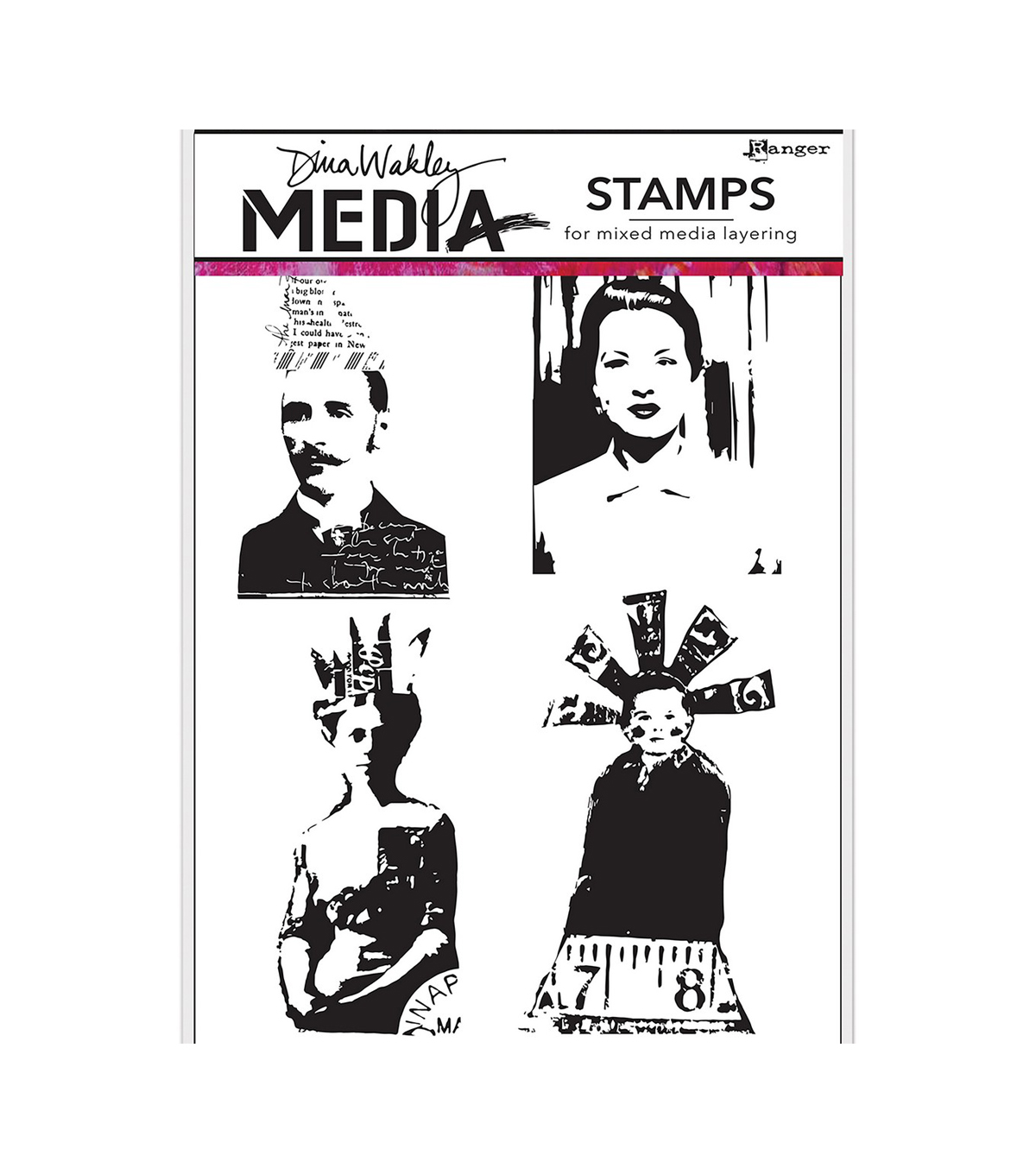 Dina Wakley Media Cling Stamps 6\u0022X9\u0022-Quirky People