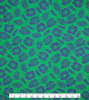 Doodles Juvenile Apparel Fabric -Navy Leaf Pucker on Green