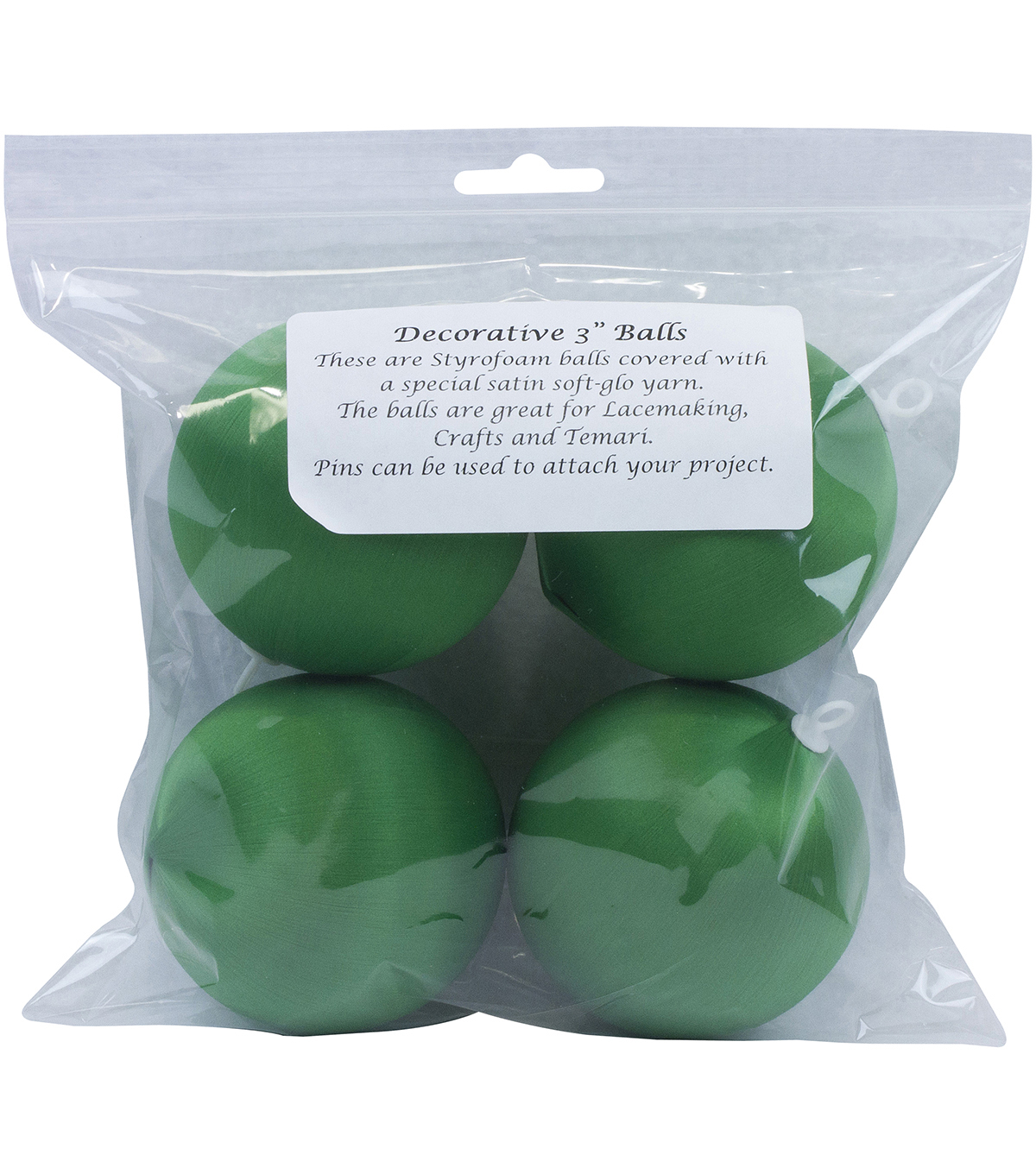 Satin Balls 3\u0022 4/Pkg-Christmas Green