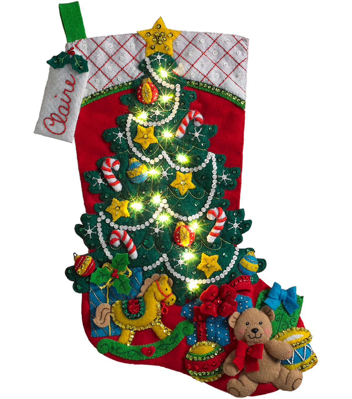 Bucilia Stocking Felt Applique Kit-Christmas Tree Surprise with Lights