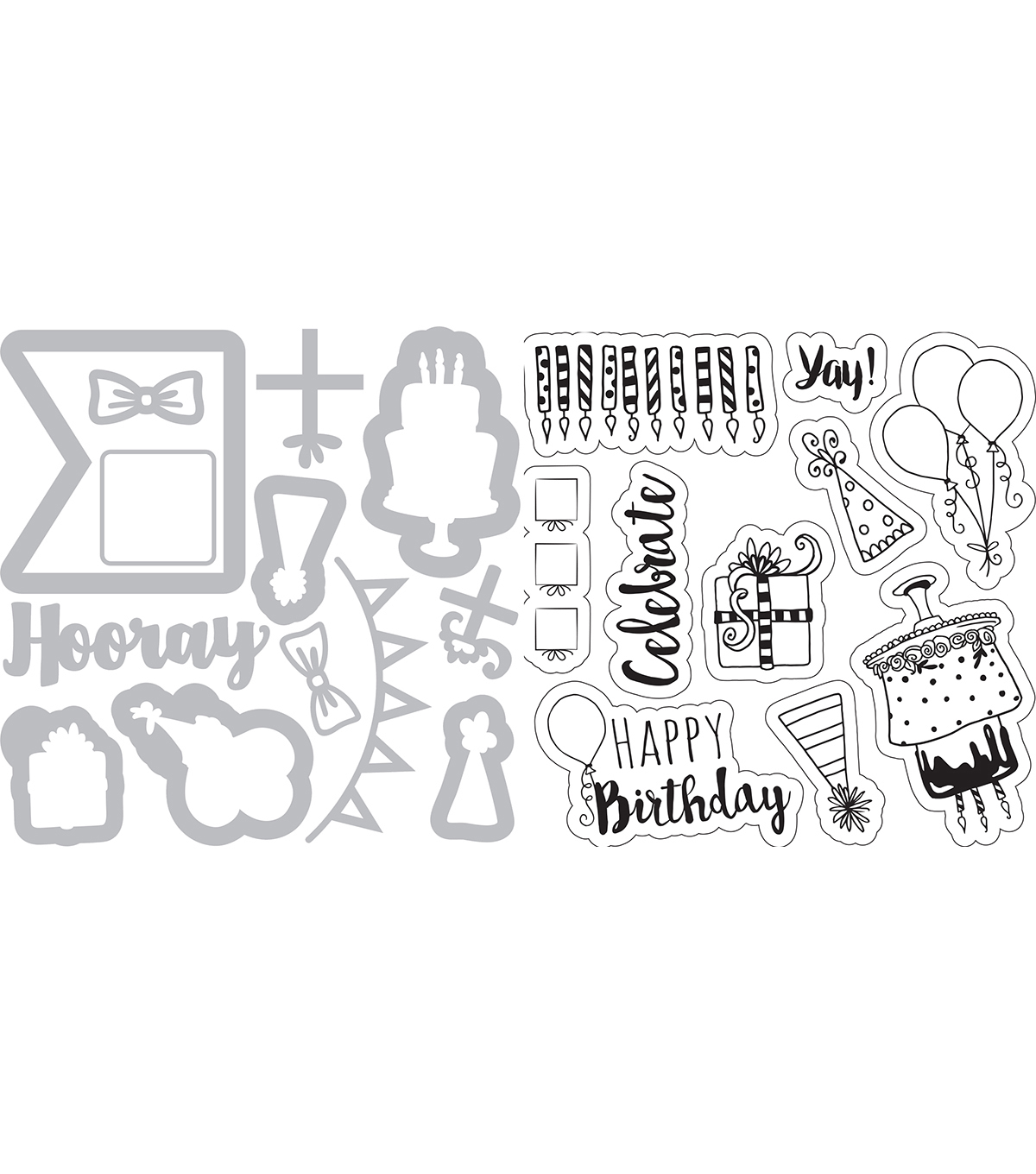 Sizzix Framelits Dies with Stamps-Birthday Planner