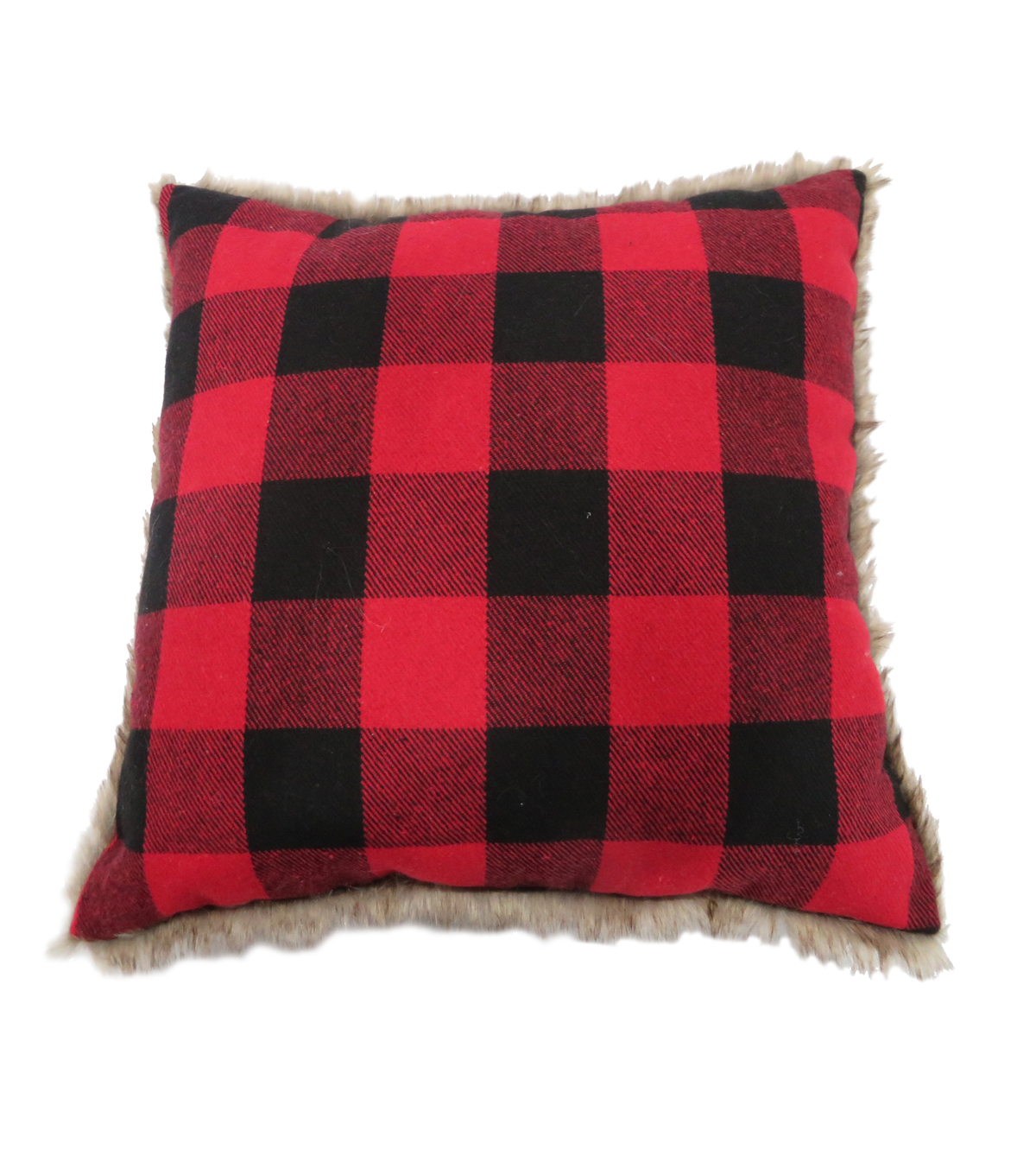 Maker\u0027s Holiday Christmas Buffalo Check Pillow-Red & Black