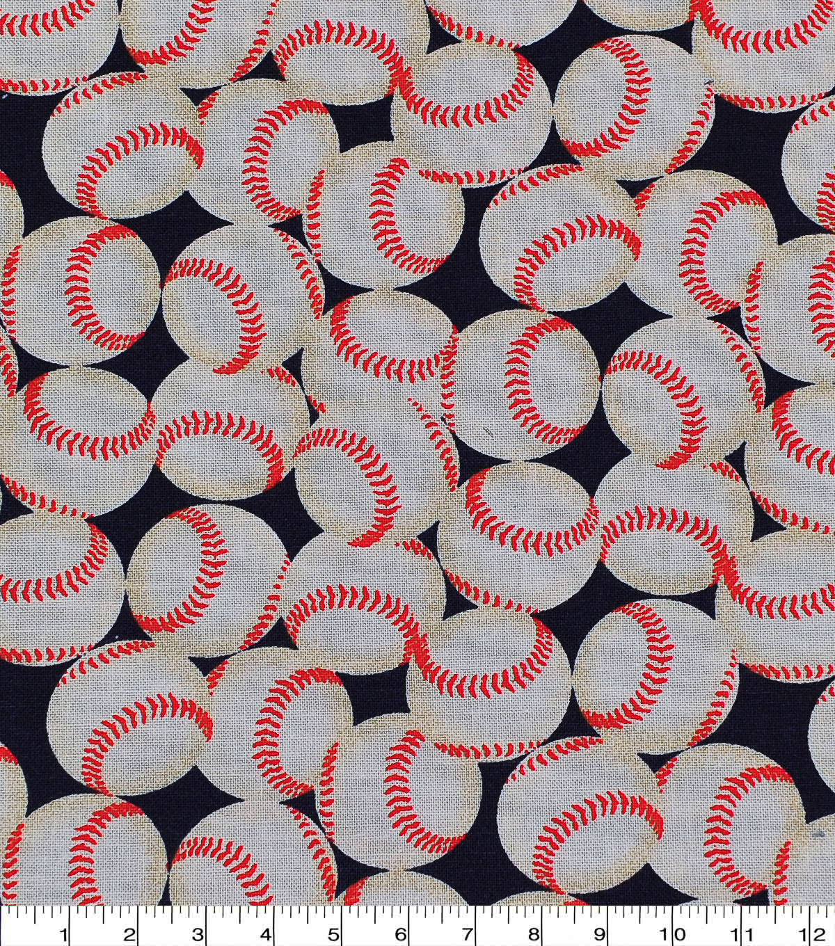 Novelty Cotton Fabric -Baseballs On Blue