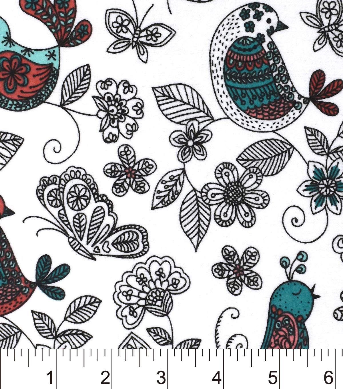 Snuggle Flannel Fabric -Sketched Birdies