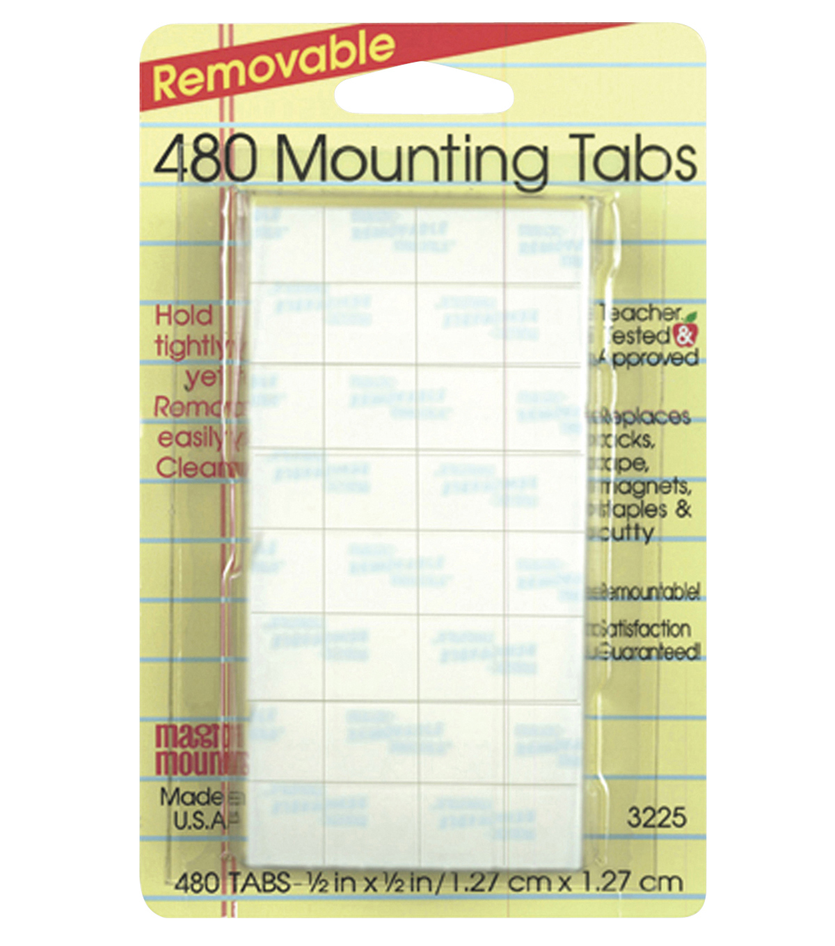 Magic Mounts Removable Mounting Tabs, 1/2\u0022 x 1/2\u0022, 480/Pack, 3 Packs