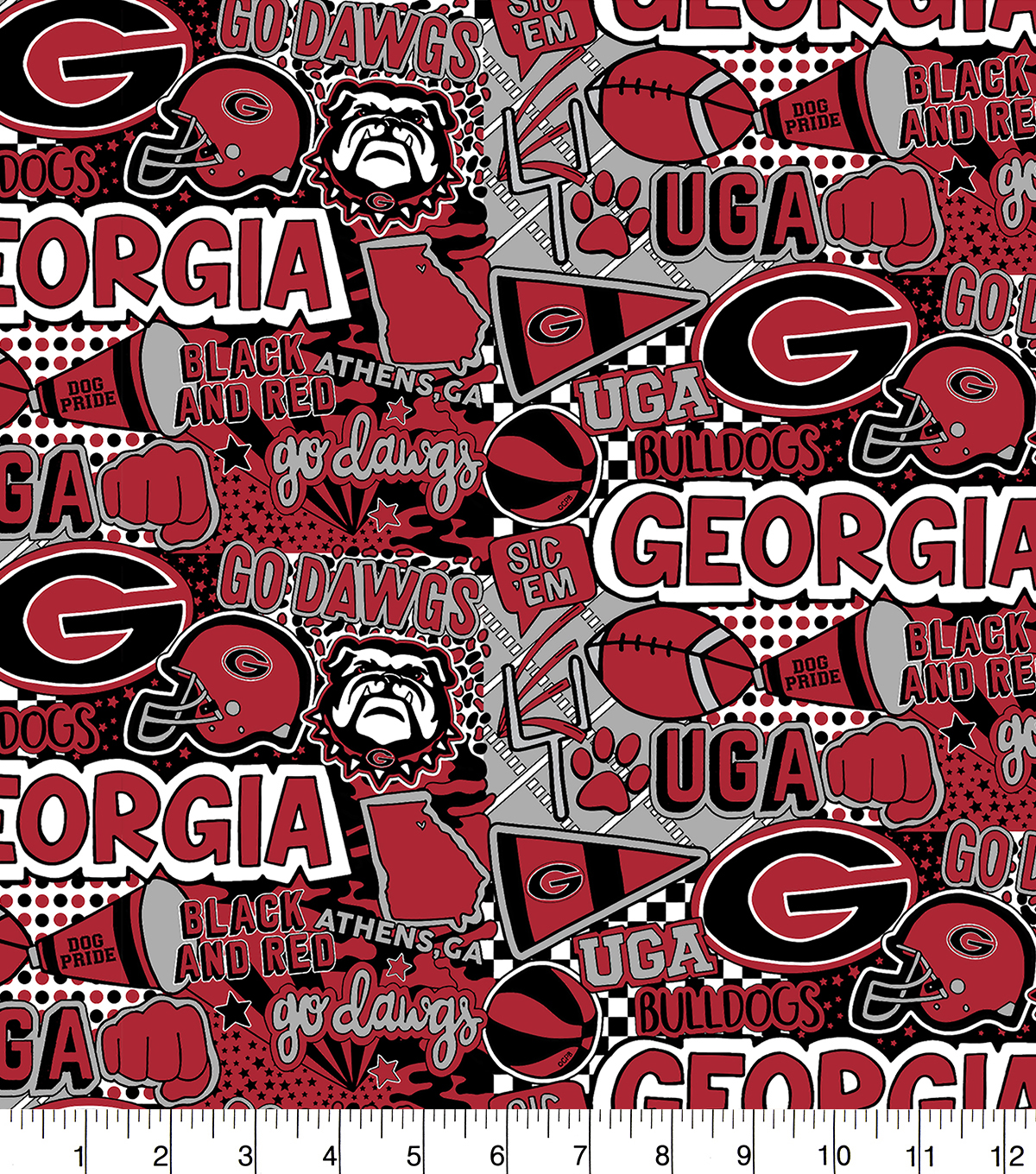 University of Georgia Bulldogs Cotton Fabric-Pop Art