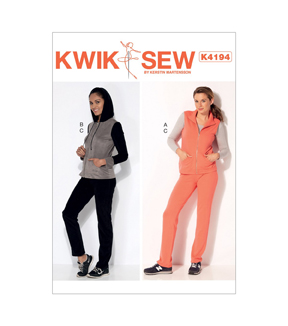 Kwik Sew Pattern K4194 Misses\u0027 Stand-Up Collar Vest Jacket-Size XS-XL