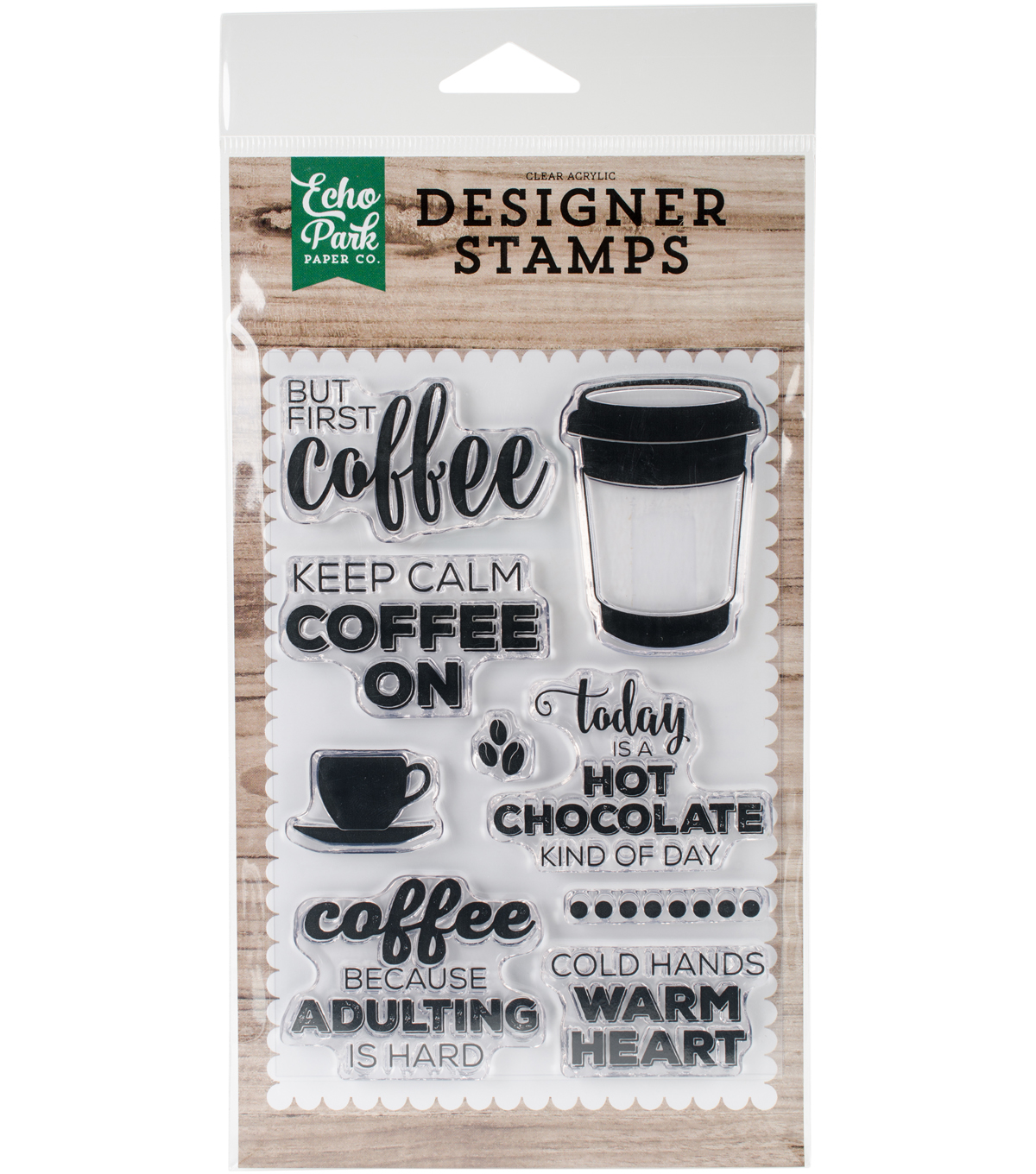 Echo Park Paper Company 9 pk Clear Stamps-But First Coffee