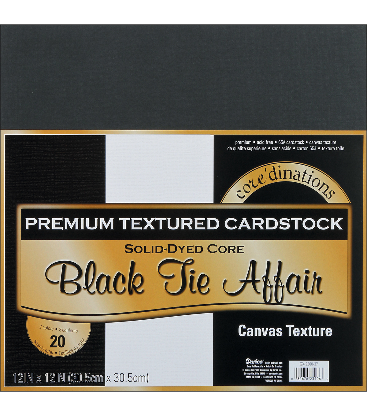 Core\u0027dinations Value Pack Cardstock 12\u0022X12\u0022 20/Pkg-Black Tie Affair-Textured