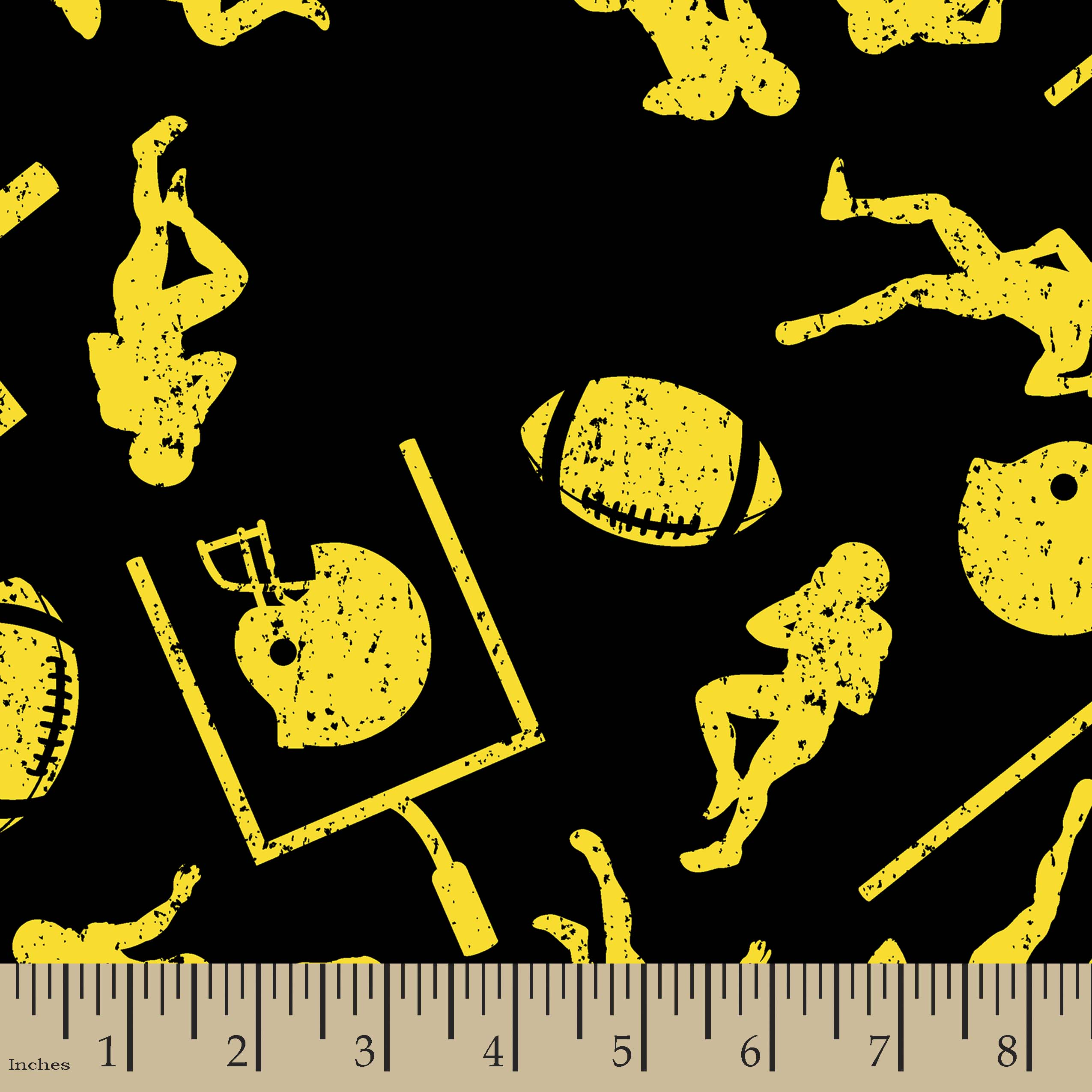 Black & Yellow Football Print Fabric
