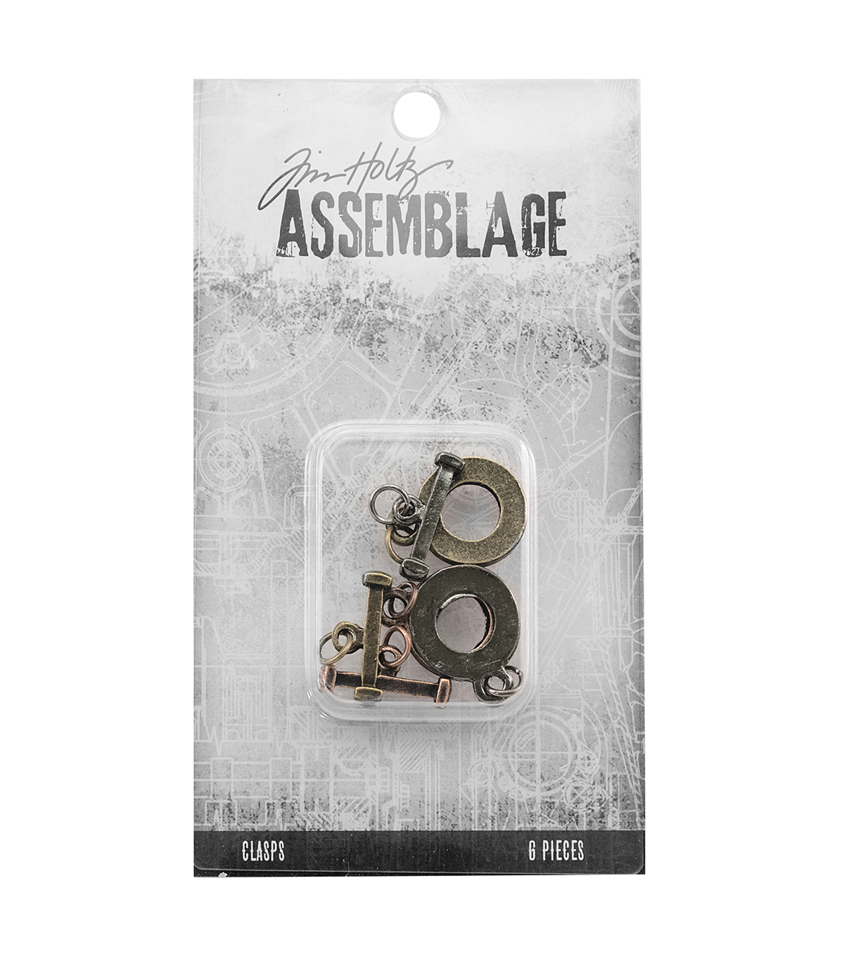 Tim Holtz Assemblage Pack of 6 Flat Toggles Clasps