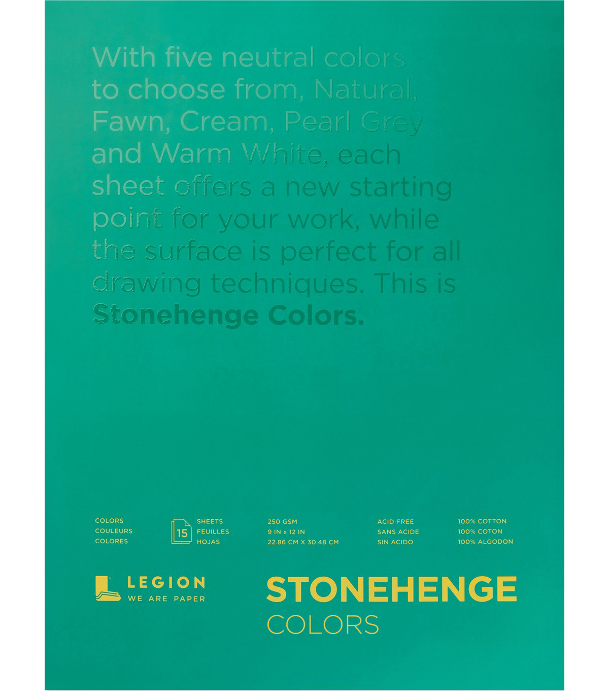 Stonehenge Paper Pad 9\u0022X12\u0022 15 Sheets-Multi Color 90lb