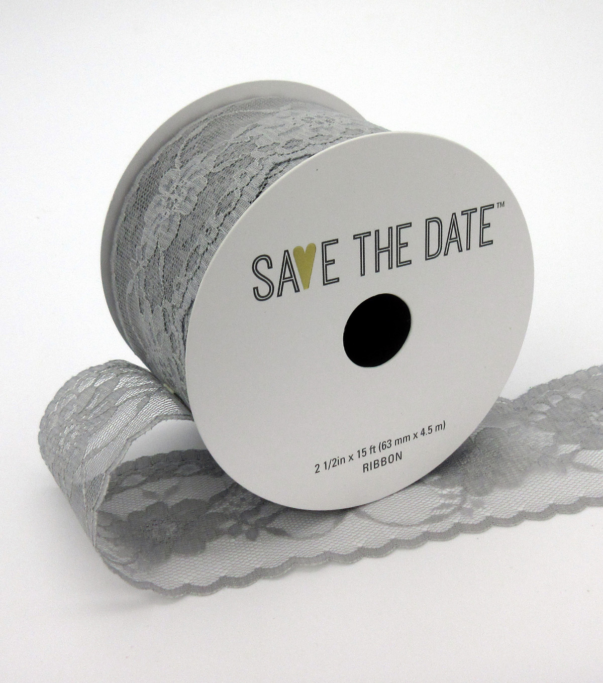 Save the Date 2.5\u0022 x 15ft Ribbon-Light Grey Lace
