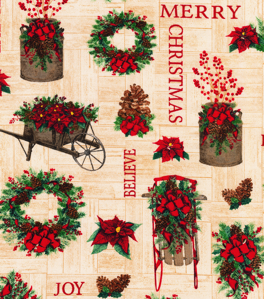 Christmas Cotton Fabric-Believe, Merry & Greenery