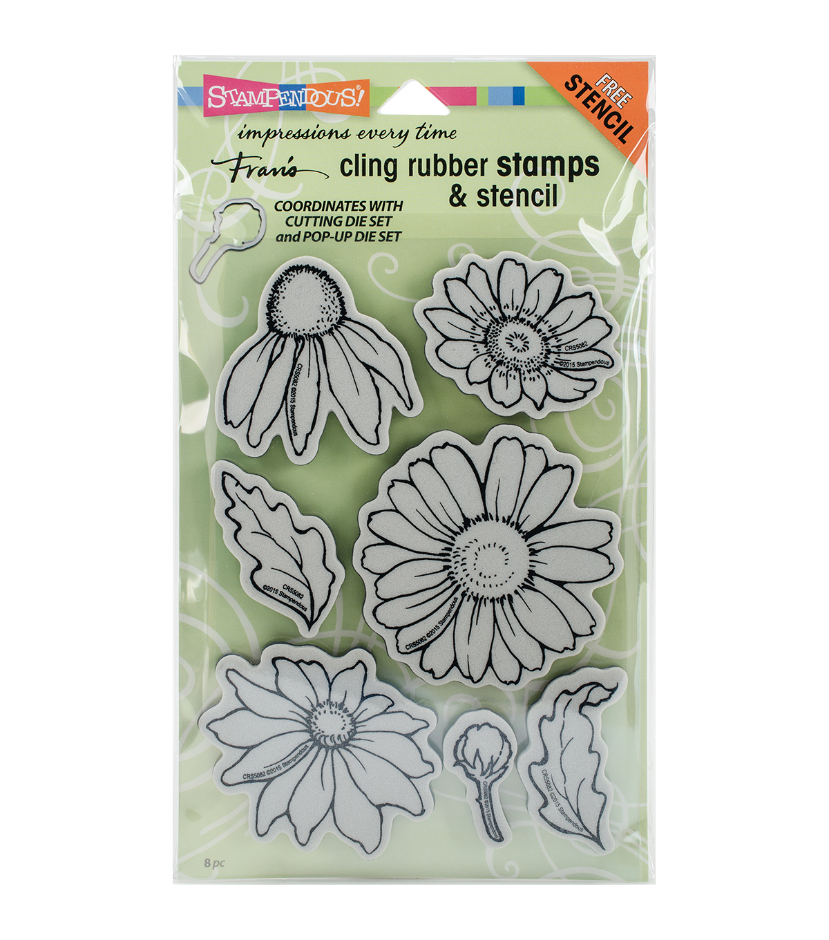 Stampendous Cling Stamps & Stencil-Daisy Mix