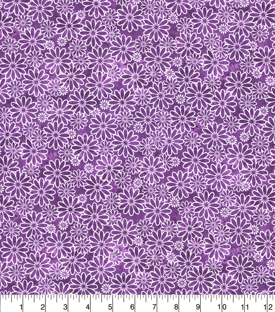 Keepsake Calico Cotton Fabric-Sundrenched Daisies Purple